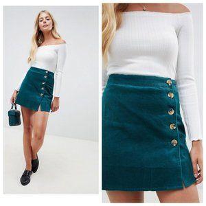 ASOS Teal Green Corduroy Button Down Wrap Skirt